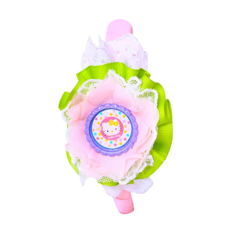 Istana kado Ring Hello Kitty Renda Pita Hijau Pink Bando