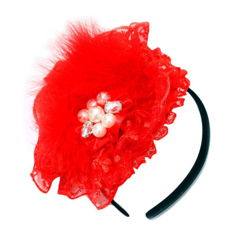 Bando Anak Bulu Halus Girl Merah Aksesoris Rambut