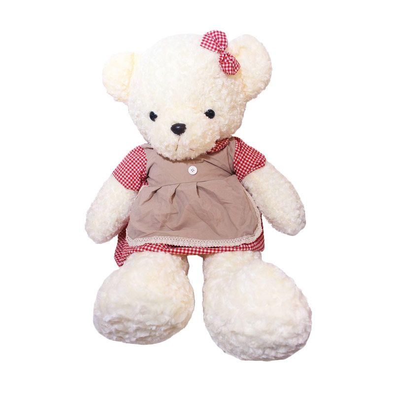 Istana Kado Online Teddy Bear Girl Square Pattern Boneka [26 Inch]