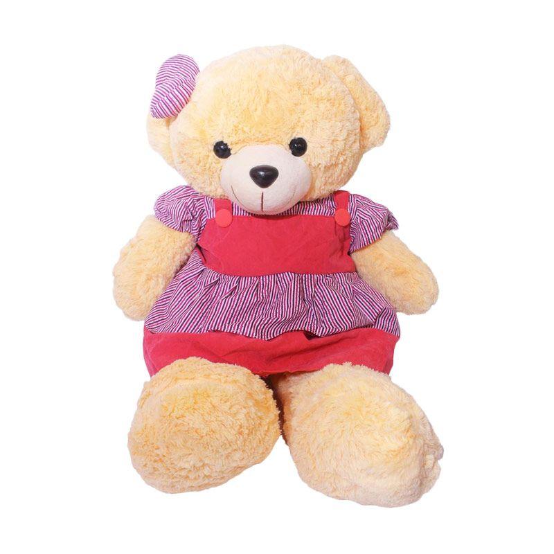 Istana Kado Online Teddy Bear Girl Stripe Pattern Ungu Boneka [20 Inch]