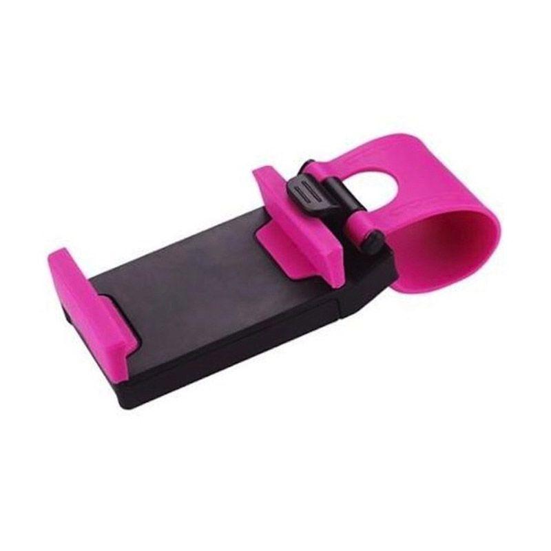 Hog Car Steering Wheel Pink Phone Socket Holder