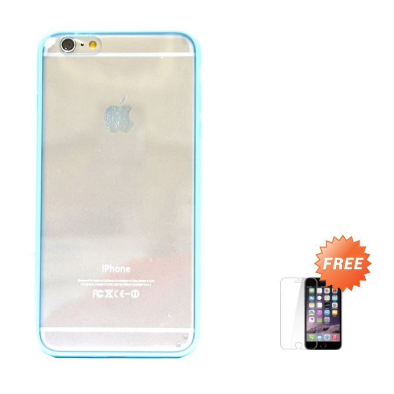 Hog Mika Bumper Biru Casing for iPhone 6 or iPhone 6 plus+ Tempered Glass Screen Protector