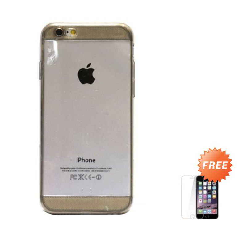 Hog TPU Diamond Black Casing for iPhone 6 or 6 Plus + Tempered Glass Screen Protector
