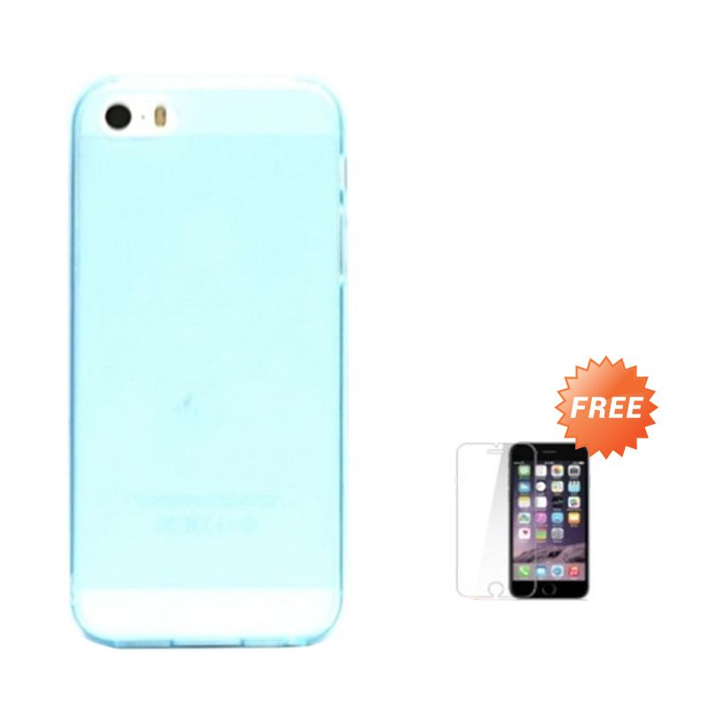 Hog TPU Dove Biru Softcase Casing for iPhone 5 or 5S + Tempered Glass Screen Protector