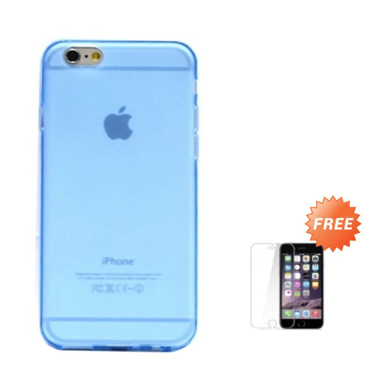 Hog TPU Dove Biru Softcase Casing for iPhone 6 or 6 Plus + Tempered Glass Screen Protector
