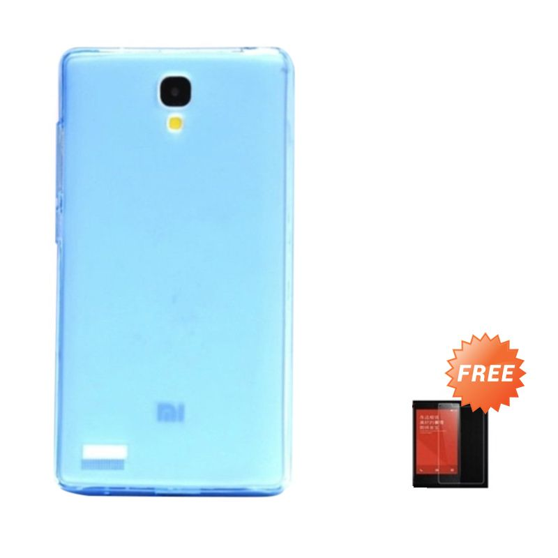 Hog TPU Dove Biru Muda Softcase Casing for Xiaomi Redmi Note + Tempered Glass Screen Protector