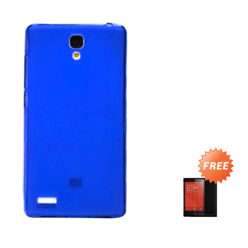 Hog TPU Dove Biru Tua Softcase Casing for Xiaomi Redmi Note + Tempered Glass Screen Protector
