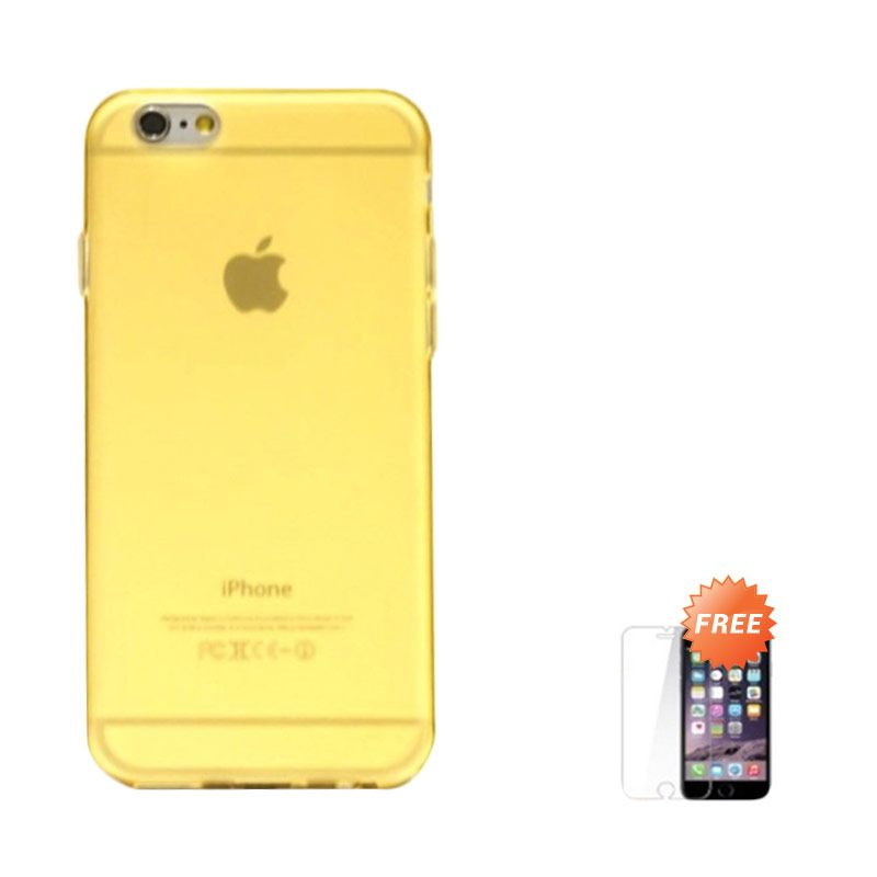 Hog TPU Dove Gold Casing for iPhone 6 or iPhone 6 Plus + Tempered Glass Screen Protector