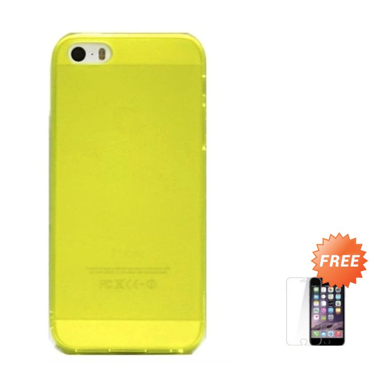 Hog TPU Dove Green Softcase Casing for iPhone 5 or 5S + Tempered Glass Screen Protector