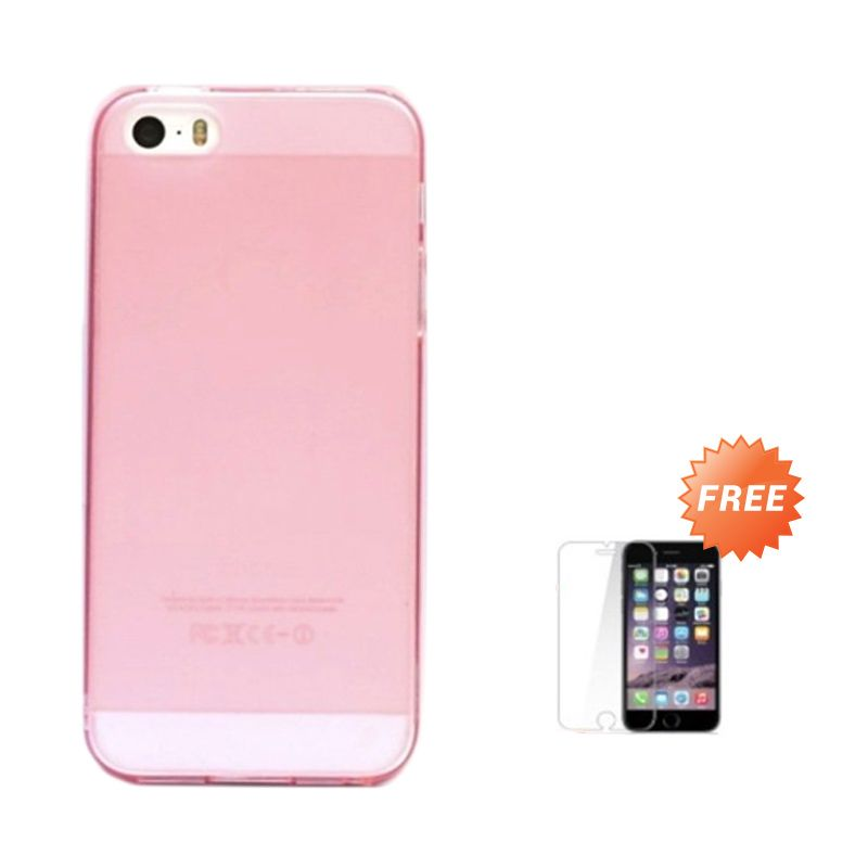 Hog TPU Dove Pink Softcase Casing for iPhone 5 or 5S + Tempered Glass Screen Protector