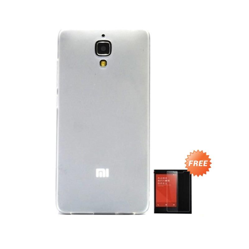 Hog TPU Dove White Softcase Casing for Xiaomi Mi4 + Tempered Glass Screen Protector