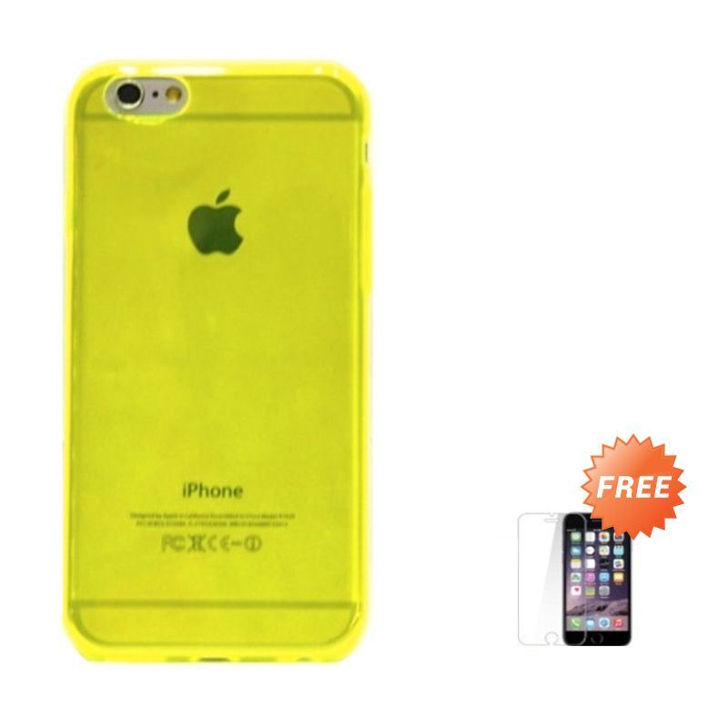 Hog TPU Slim Green Casing for iPhone 6 or iPhone 6 plus + Tempered Glass Screen Protector