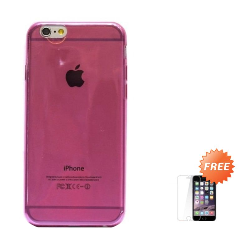 Hog TPU Slim Pink Casing for iPhone 6 or iPhone 6 plus + Tempered Glass Screen Protector