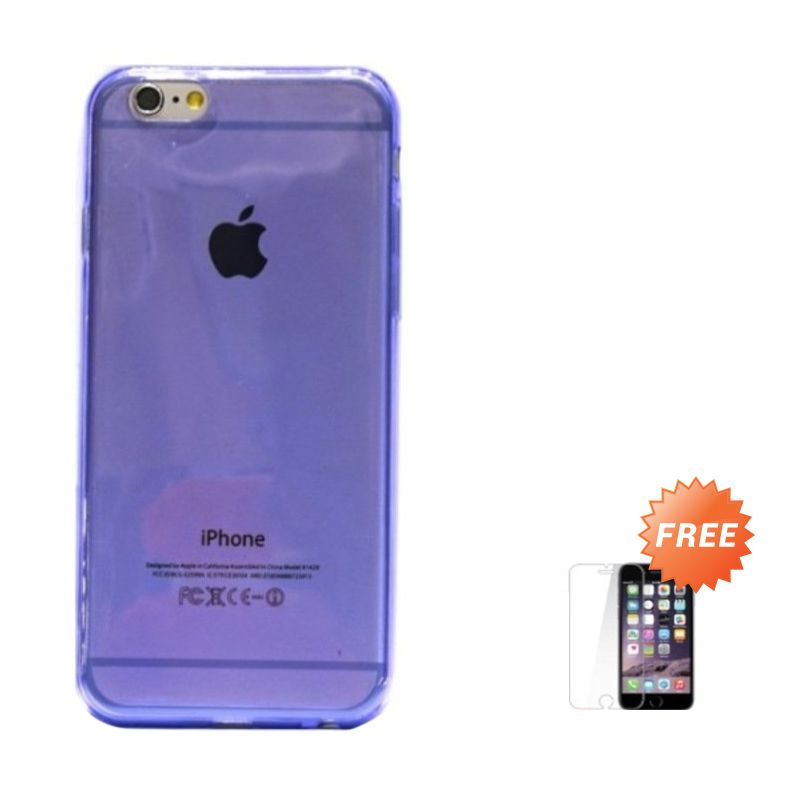 Hog TPU Slim Purple Casing For iPhone 6 or iPhone 6 Plus + Tempered Glass Screen Protector