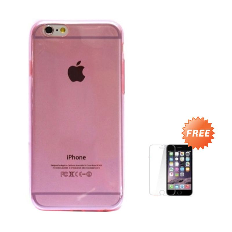 Hog TPU Slim Soft Pink Softcase Casing for iPhone 6 or 6 Plus + Tempered Glass Screen Protector