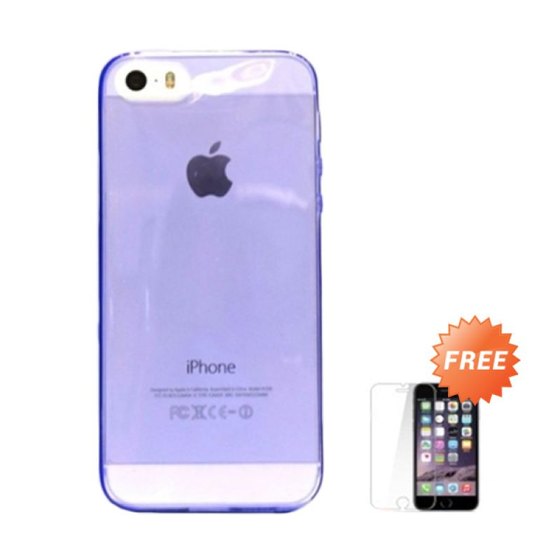 Hog TPU Slim Ungu Softcase Casing for iPhone 5 + Tempered Glass Screen Protector