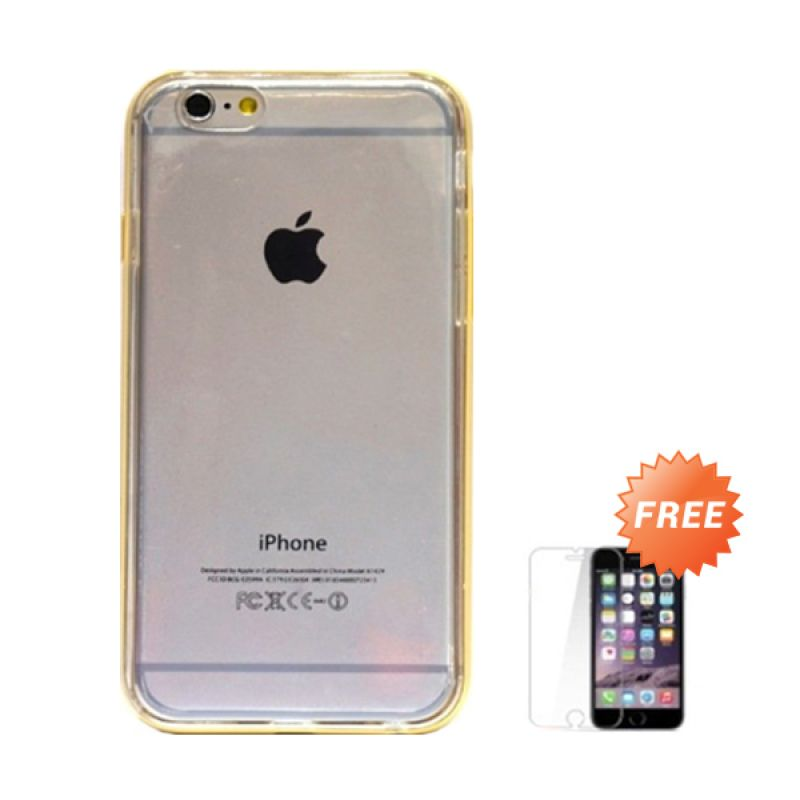 Hog TPU Soft Bump Gold Softcase Casing for iPhone 6 + Tempered Glass Screen Protector