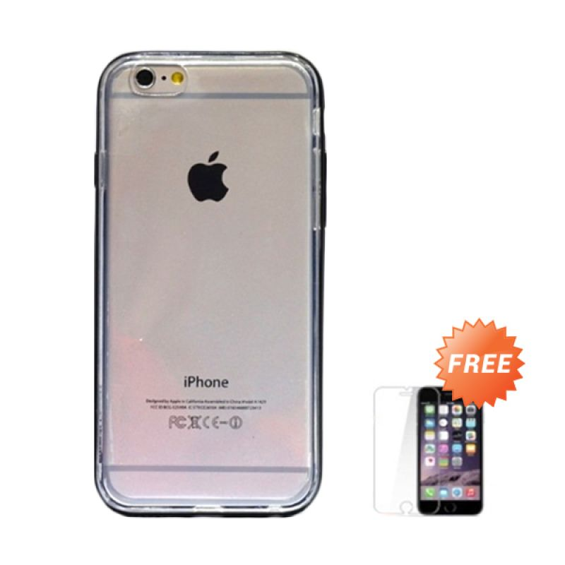 Hog TPU Soft Bump Hitam Softcase Casing for iPhone 6 + Tempered Glass Screen Protector