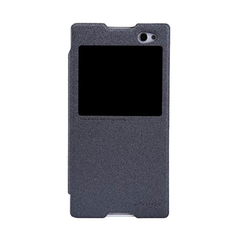 Nillkin Sparkle Leather Hitam Flip Cover Casing for Sony Xperia C3