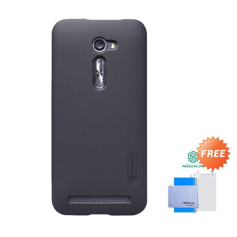 Nillkin Super Frosted Sheild Hitam Casing for Asus Zenfone 2 + Screen Protector
