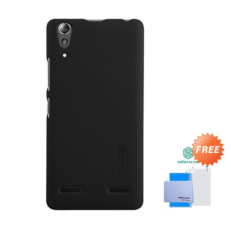 Nillkin Super Frosted Shield Hitam Casing for Lenovo A6000 + Screen Protector