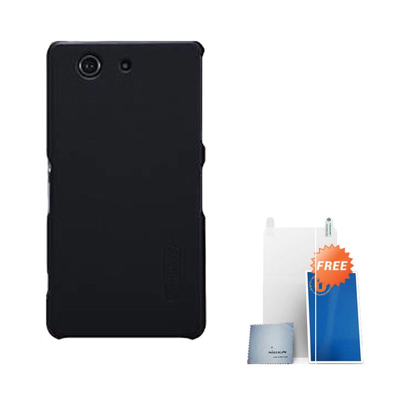 Nillkin Super Frosted Shield Hitam Casing for Sony Xperia Z3 Compact + ScreenGuard