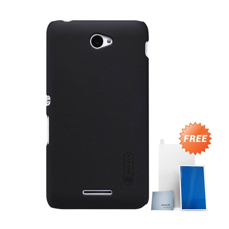 Nillkin Super Shield Frosted Hitam Casing For Sony Xperia E4 + ScreenGuard Nillkin