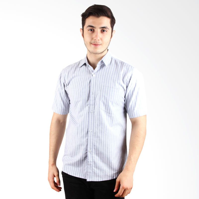 Itsabcd Grey Stripe Short Sleeve Shirt