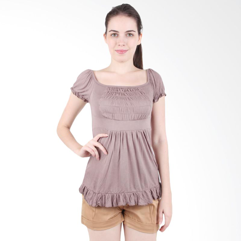 itsabcd Spandex Flare Top Taupe