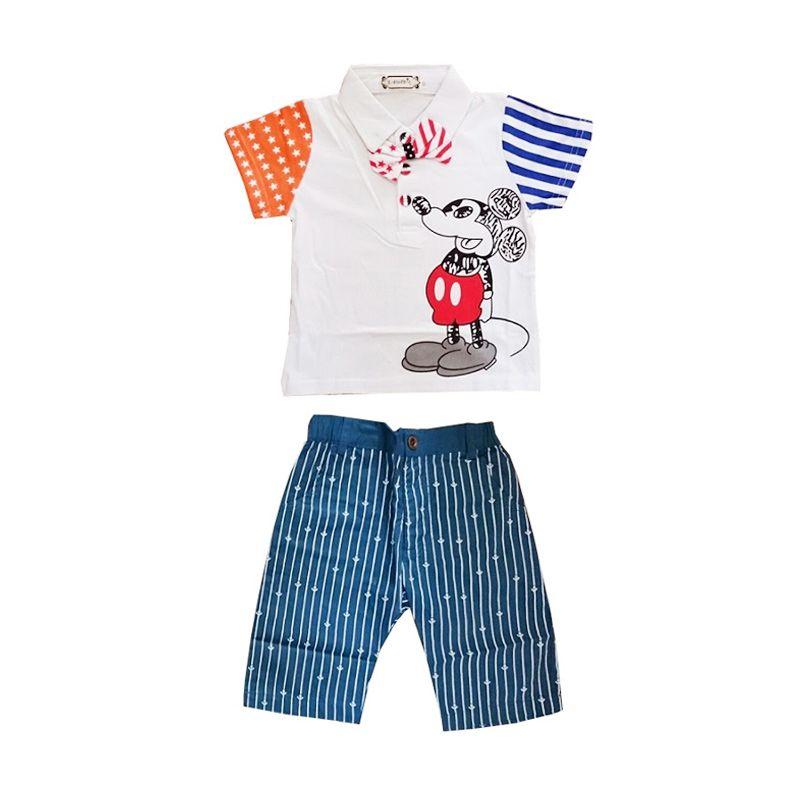 Iv'A Kidz Shop Mickey E-Buty Putih Biru Setelan Anak Laki-Laki