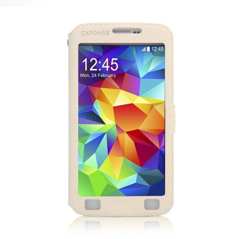 Capdase Sider V Baco Flip Case Putih Casing for Samsung S5