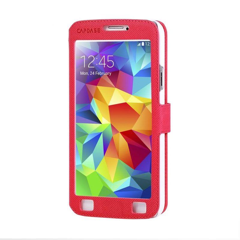 Capdase Sider V Baco Flip Case Merah Casing for Samsung S5