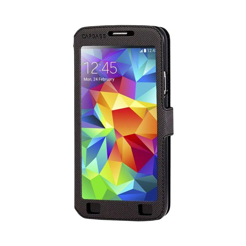Capdase Sider V Baco Flip Case Hitam Casing for Samsung S5