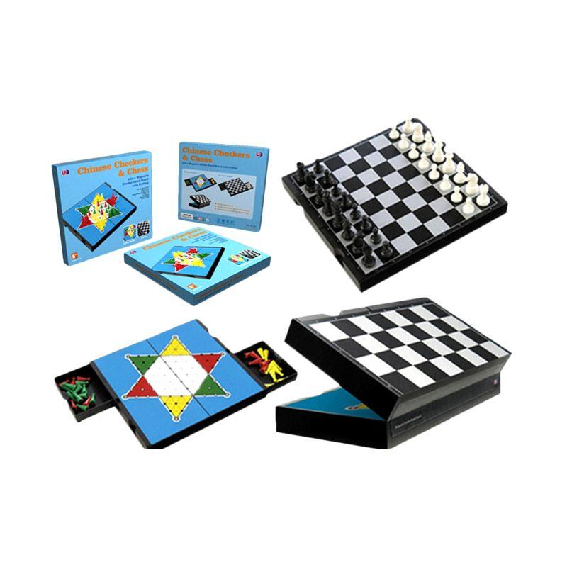J&J Edutoys 2 IN 1 Folding Magnetic Chess & Checkers Mainan Anak