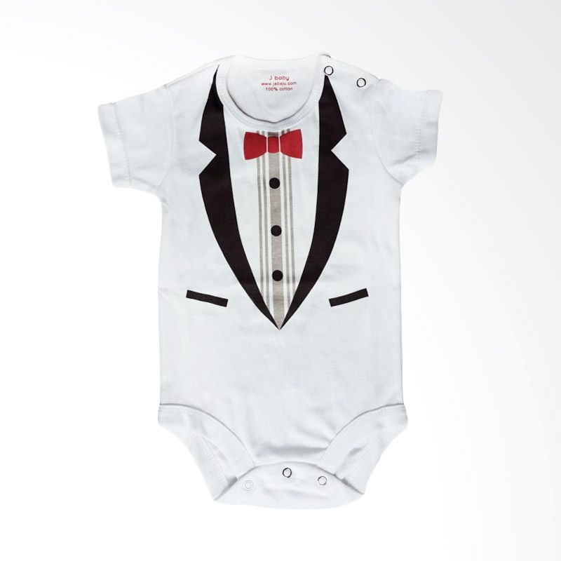 J Baby Little Man Bodysuit 84 Putih Jumpsuit Bayi