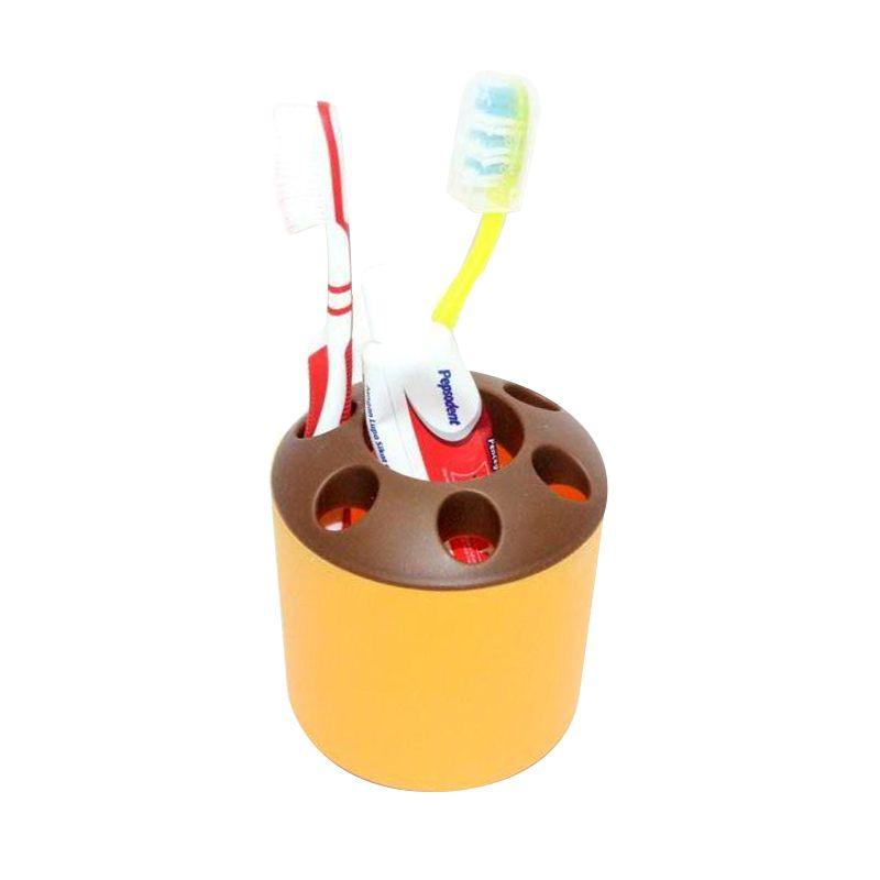 Jack Tabung Multifungsi Coklat Kuning Tootbrush Holder