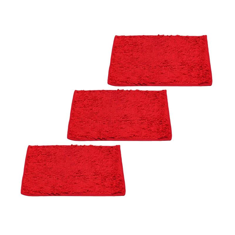 Keset Cendol Microfiber 40 x 60 cm - Merah Hati ( Red ) ( Buy 2 Get 1 Free )