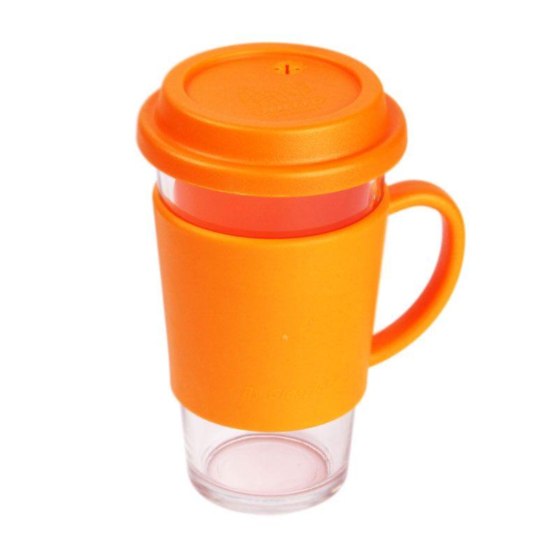 Glasslock RC106 Orange Glass Tumbler with Handle Gelas [500 mL]