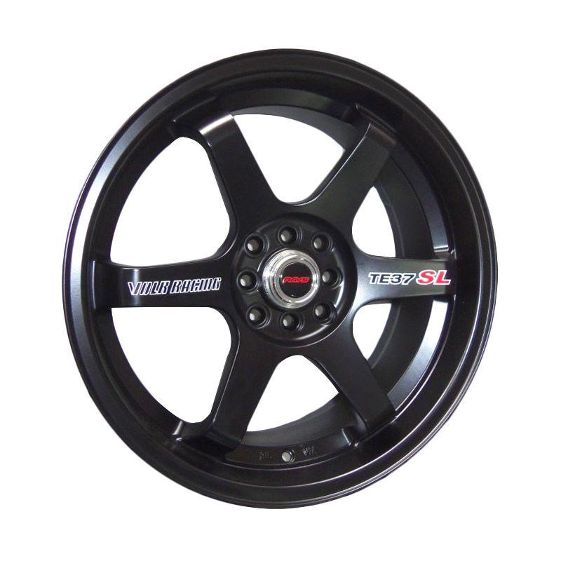 Replika Volkrays TE37 SL Black Matte Velg Mobil [17 Inch PCD 4x100 / 4x114.3 GRATIS INSTALASI]
