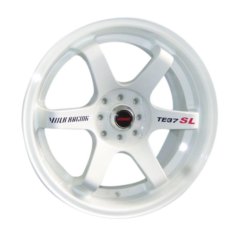 Volkrays TE37 SL Replika White Velg Mobil [14 Inch]