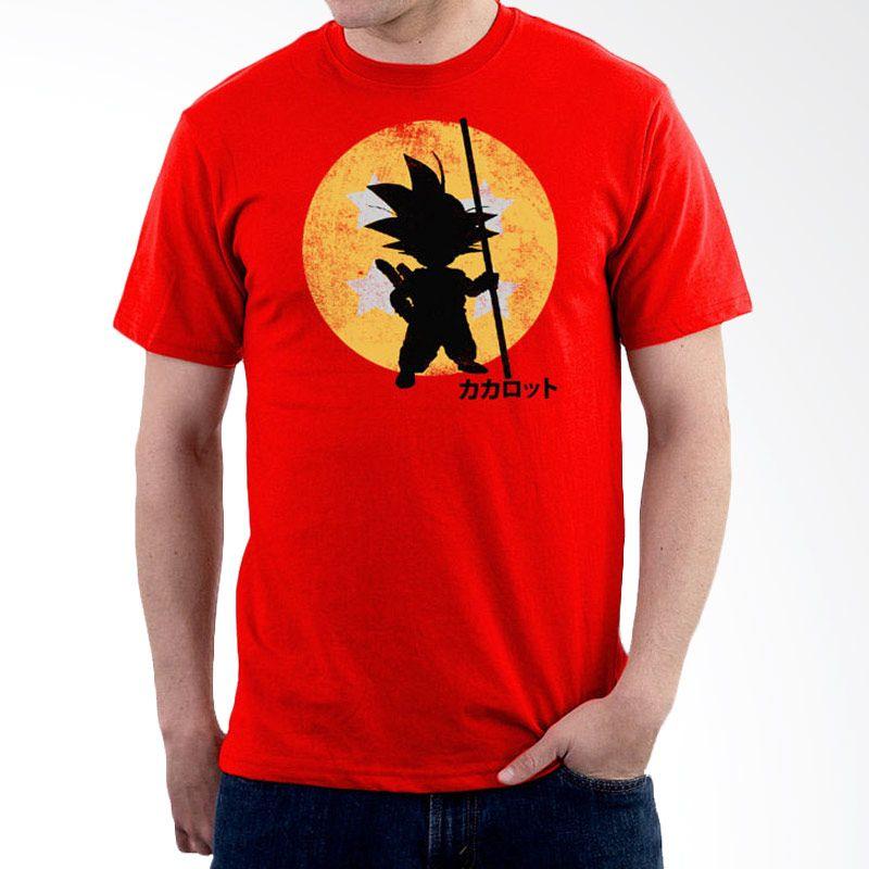 JersiClothing Dragon Ball Velvet Flock Print Orange Kaos Pria