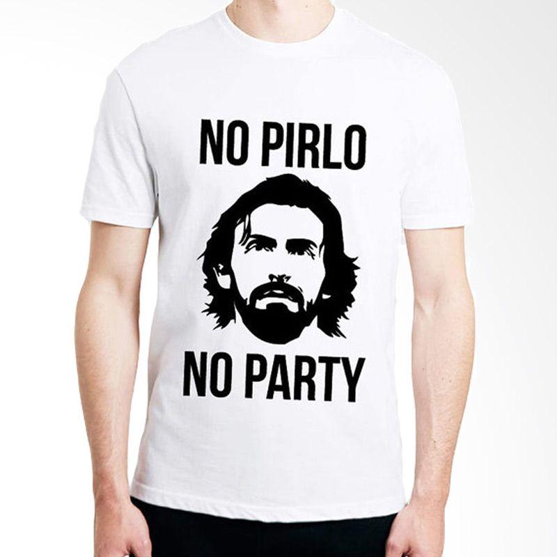 JersiClothing No Pirlo No Party Velvet Flock Print White Kaos Pria
