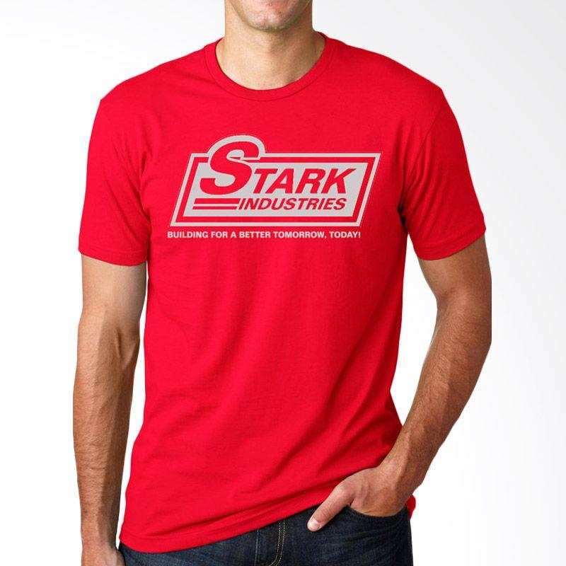 JersiClothing Stark Industries Velvet Flock Print Red T-Shirt Pria