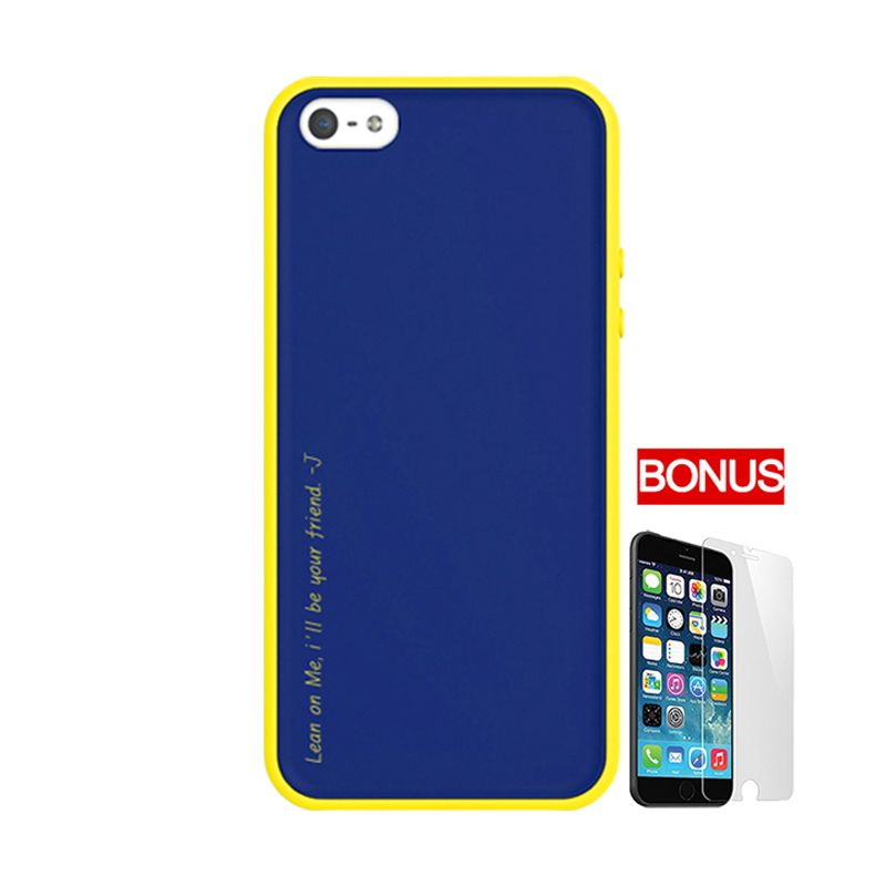 ARAREE Amy Dark Blue Yellow Casing for iPhone 5 or 5S + Bonus