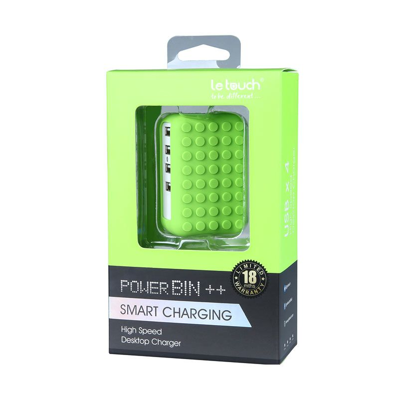 Letouch Wall Powerbin Smart & Fast Green Adapter Charger [4.8 A/4 Port]
