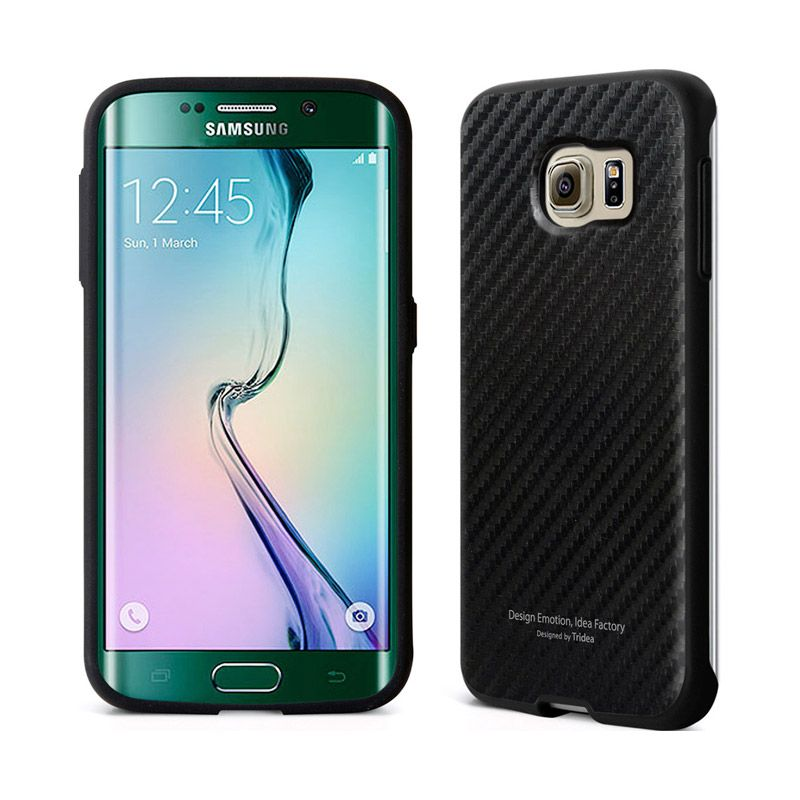 TRIDEA Carbon Style Anti Shock Black Casing for Galaxy S6 Edge