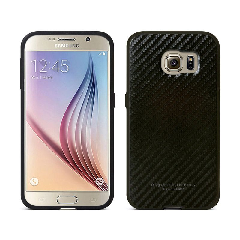 TRIDEA Carbon Style Anti Shock Black Casing for Galaxy S6