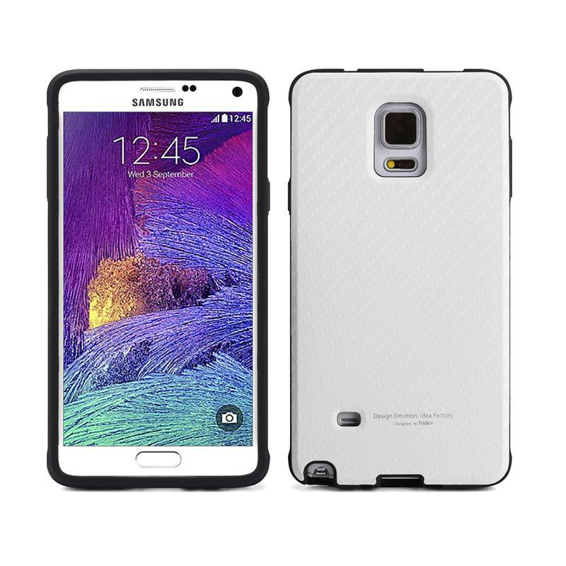 TRIDEA Case Carbon Anti Shock White Casing for Galaxy Note 4