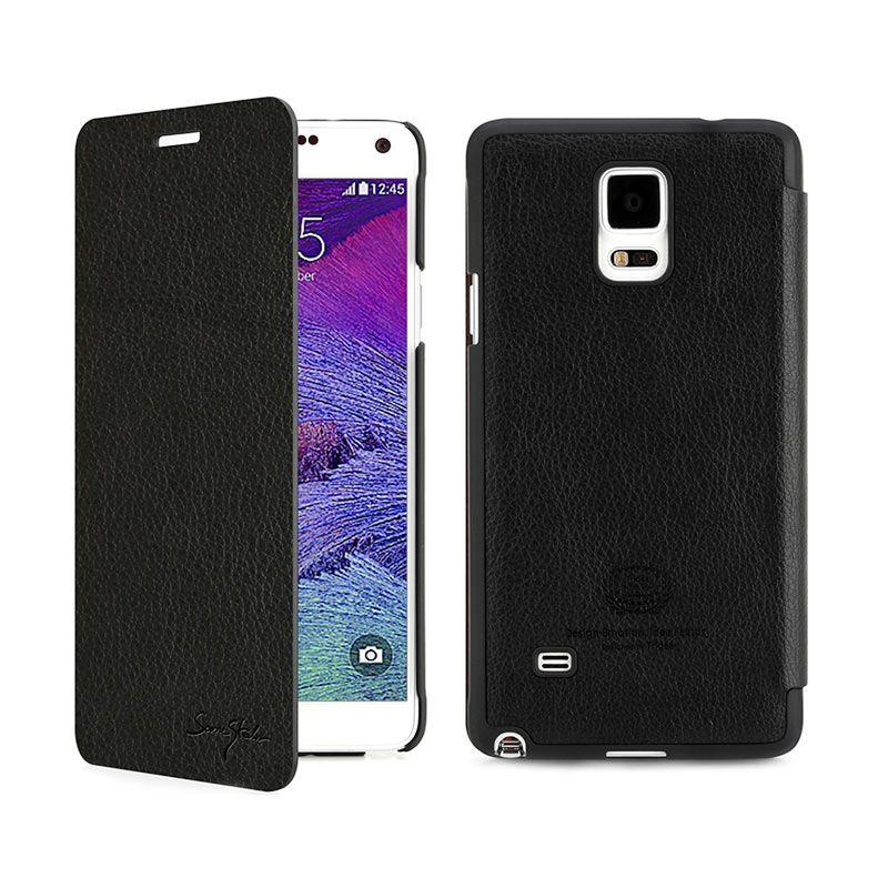 Tridea Galaxy Note 4 Case Card Pocket Italian Flip Cover Black