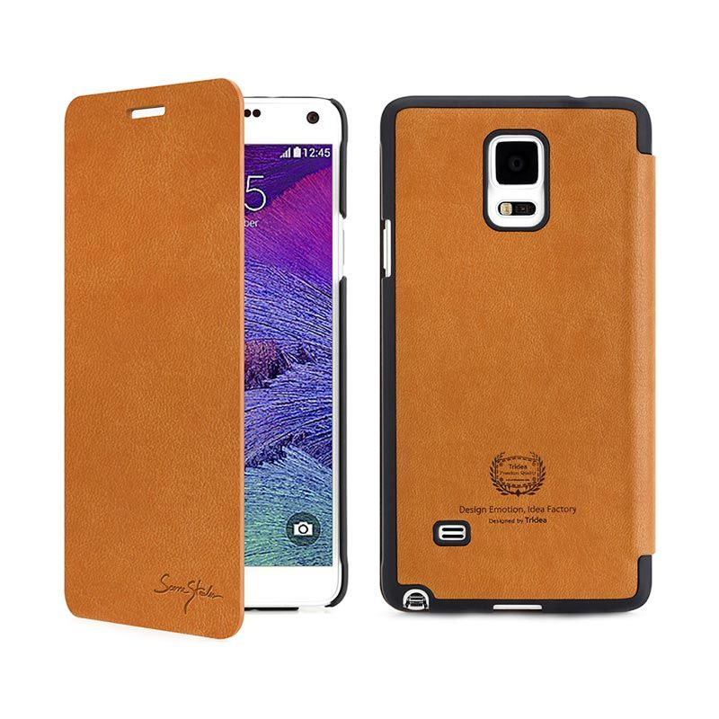 Tridea Galaxy Note 4 Case Card Pocket Italian Flip Cover Brown